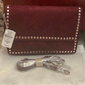 Neiman Marcus suede studded faux -suede bag